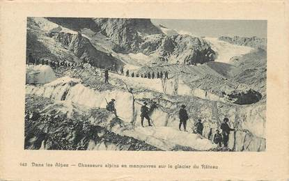 """CPA CHASSEUR ALPIN """"En manoeuvres dans les Alpes sur le glacier du Rateau"""""""