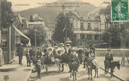 """/ CPA FRANCE 63 """"La Bourboule, le casino, départ d'une caravane d'excursion"""" / ÂNE"""