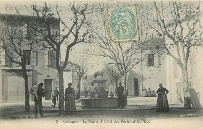 """CPA FRANCE 13 """"Gréasque, la mairie, l'hotel des Postes et la place"""""""