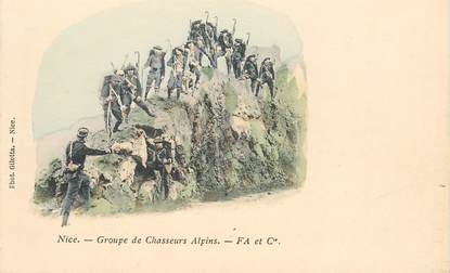 "CPA  CHASSEUR ALPIN ""Nice, groupe de chasseurs"""