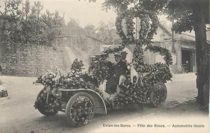 """/ CPA FRANCE 74 """"Evian Les Bains, fête des Roses, automobile fleurie"""""""
