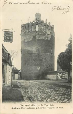 """CPA FRANCE 27 """"Verneuil, la tour grise, Au Cochon d'Argent"""" / DAVID"""