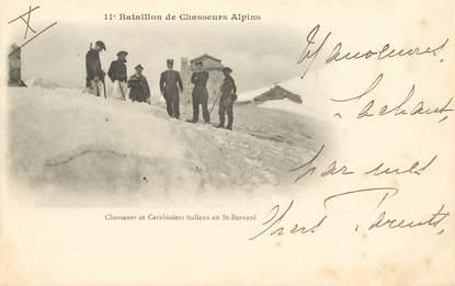 """CPA CHASSEUR ALPIN / Série 11e Bataillon """"Carabiniers italiens au saint Bernard"""""""