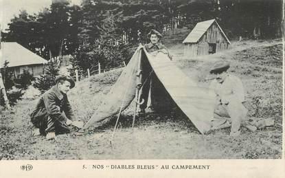 """CPA CHASSEUR ALPIN / Série Les Diables Bleus  """"Au Campement"""""""