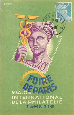 "CPA PUBLICITE ""Foire de Paris, 1949, salon international de la philatélie"""