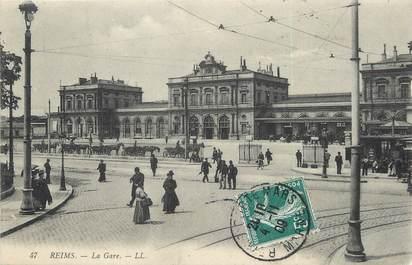 """/  CPA FRANCE 51 """"Reims, la gare"""""""