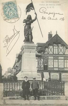 """/ CPA FRANCE 60 """"Compiègne, statue de Jeanne d'Arc"""""""