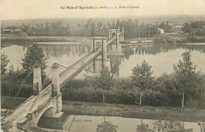 """CPA FRANCE 47 """"Le Mas d'Agenais, pont et canal"""""""