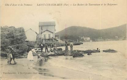 "/ CPA FRANCE 83 ""Saint Cyr sur Mer, les rochers de Tauroentum et les Baigneurs"""