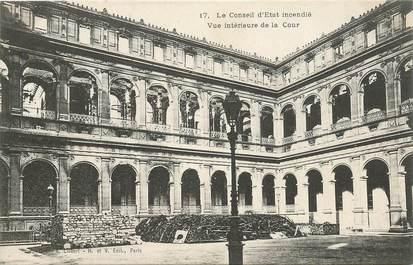 """CPA FRANCE 75 """"Paris"""" / Série La Commune 1871 """"Le conseil d'Etat incendié"""""""