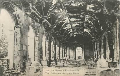"""CPA FRANCE 75 """"Paris"""" / Série La Commune 1871 """"Le conseil d'Etat incendié """""""