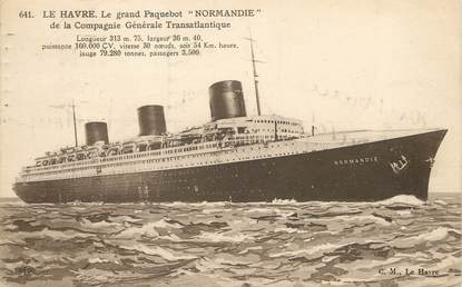 "CPA FRANCE 76 ""Le Havre, le grand Paquebot Normandie"""