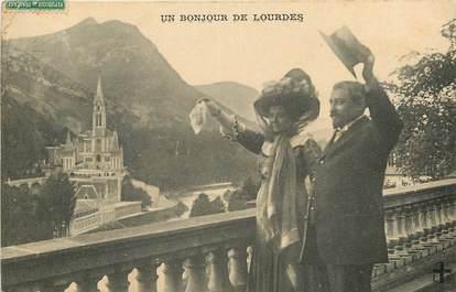 """CPA FRANCE 65 """"Un Bonjour de Lourdes"""""""