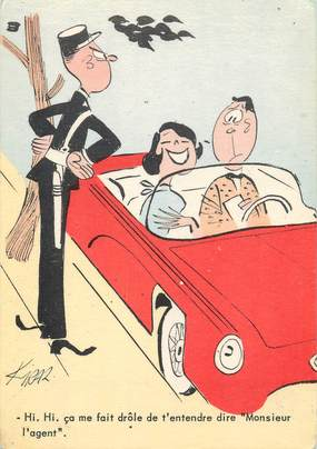 """CPSM ILLUSTRATEUR BELLUS Jean """"..Cà me fait drôle de t entendre dire Monsieur l'agent"""""""
