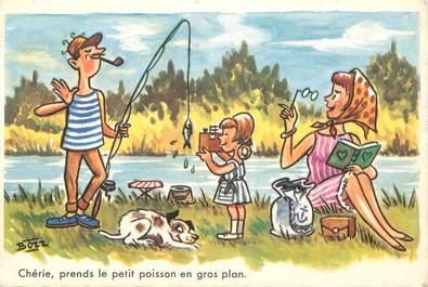 """CPSM ILLUSTRATEUR BOZZ """"Chérie, prends le petit poisson en gros plan"""""""