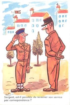 """CPSM ILLUSTRATEUR BOZZ """" Sergent est il possible de terminer son service par correspondance"""""""