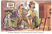 """Illustrateur CPSM ILLUSTRATEUR BOZZ """" Le dîner télévision"""""""