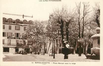 """/ CPA FRANCE 04 """"Barcelonnette, place Manuel sous la neige"""""""