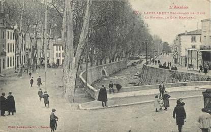 """/ CPA FRANCE 09 """"Lavelanet, promenade de l''Ille, la rivière, le quai national"""""""