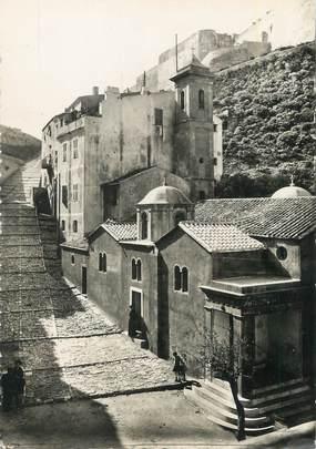 "/ CPSM FRANCE 20 ""Corse, Bonifacio, la marine, église Saint Erasme"""