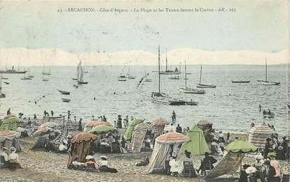 """CPA FRANCE 33 """"Arcachon, la plage et les tentes devant le casino"""""""