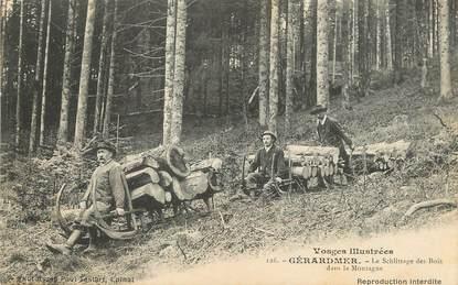 """/ CPA FRANCE 88 """"Gerardmer, le schlittage des bois dans la montagne"""""""