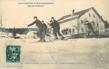 """/ CPA FRANCE 88 """"Gerardmer, concours de ski, équipe militaire en marche"""""""