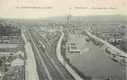 "/ CPA FRANCE 51 ""Epernay, panorama de la marne"""