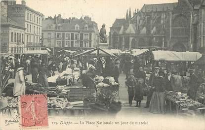 """/ CPA FRANCE 76 """" Dieppe, la place Nationale un jour de marché"""""""