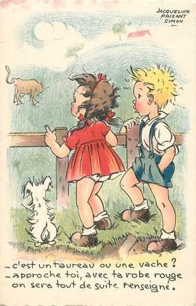 """CPA ILLUSTRATEUR FAIZANT Jacqueline """"C'est un taureau ou une vache?"""""""