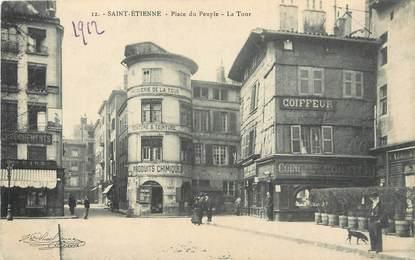 """/ CPA FRANCE 42 """"Saint Etienne, place du peuple, la tour"""""""