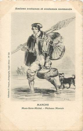 """/ CPA FRANCE 50 """"Mont Saint Michel, pêcheurs Montois"""""""