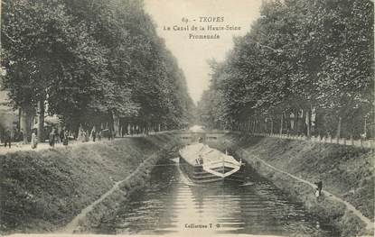 """/ CPA FRANCE 10 """"Troyes, le canal de la Haute Seine, promenade"""""""