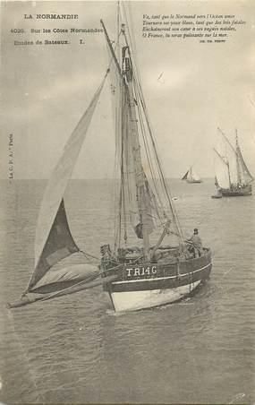 """CPA FRANCE 14 """"Bateaux sur les côtes normandes"""""""