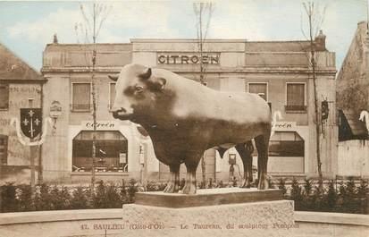 """/ CPSM FRANCE 21 """"Saulieu, le taureau du sculpteur Pompon"""""""
