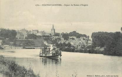 """/ CPA FRANCE 53 """"Chateau Gontier, départ du bateau d'Angers"""""""