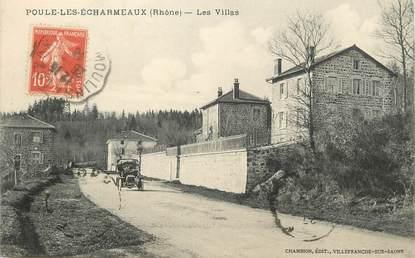 """/ CPA FRANCE 69 """"Poule Les Echarmeaux, les villas"""""""