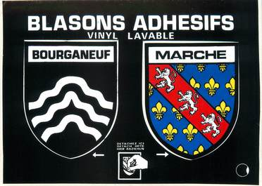 "/ CPSM FRANCE 23 ""Bourganeuf"" / BLASON ADHESIF"