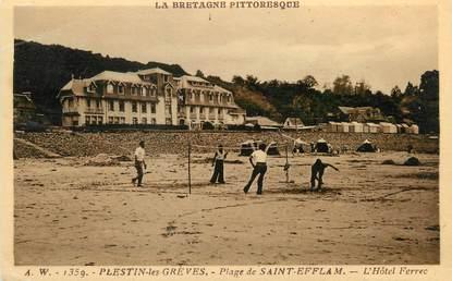 """CPA FRANCE 22 """"Plestin les Grèves, plage de Saint Efflam, l'hôtel Ferrec"""""""