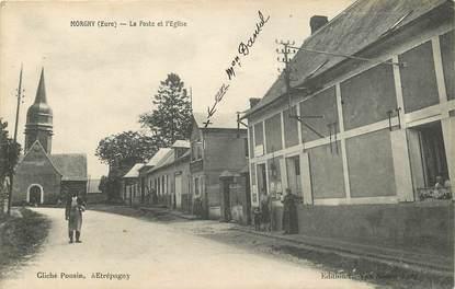 """CPA FRANCE 27 """"Morgny, la poste et l'Eglise"""""""