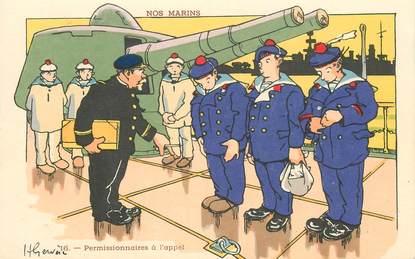 """CPA ILLUSTRATEUR GERVESE """"Nos marins, permissionnaires à l'appel"""""""