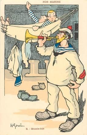 "CPA ILLUSTRATEUR GERVESE ""Nos marins, Branle bas"""