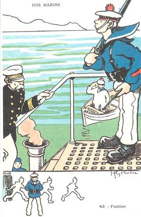 "CPA ILLUSTRATEUR GERVESE ""Nos marins, Fusilier"""
