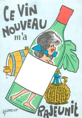 """CPSM ILLUSTRATEUR GONDOT """"ce vin nouveau m'a rajeunit"""""""