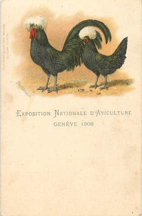 """CPA SUISSE """"Genève, exposition nationale d'aviculture"""" / COQ"""