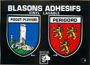 "/ CPSM FRANCE 24 ""Piégut Pluviers"" / BLASON ADHESIF"