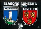 "24 Dordogne / CPSM FRANCE 24 ""Piégut Pluviers"" / BLASON ADHESIF"