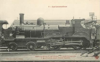 """CPA TRAIN / LOCOMOTIVE """"machine de la Cie de l'Ouest"""""""