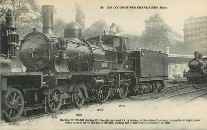 "CPA TRAIN / LOCOMOTIVE ""machine compound à 4 cylindres"""