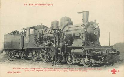 "CPA TRAIN / LOCOMOTIVE ""machine compound à 4 cylindres, 3 essieux"""